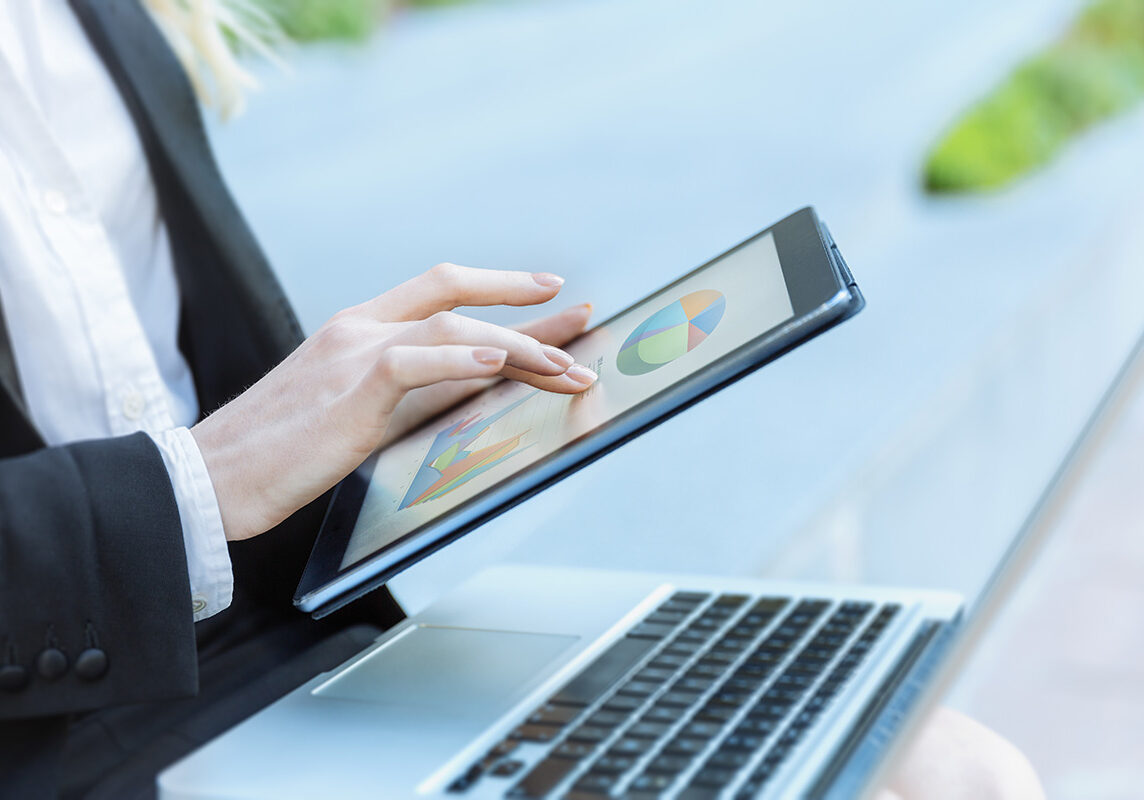 close up of a Businesswoman hands using tablet
